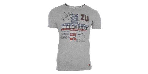 Pánske šedé tričko s farebnou potlačou Zu Elements