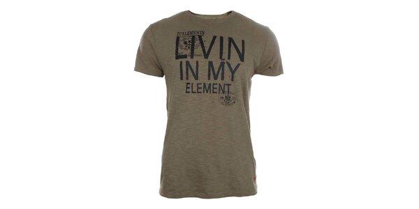 Pánske hnedé tričko s potlačou Zu Elements