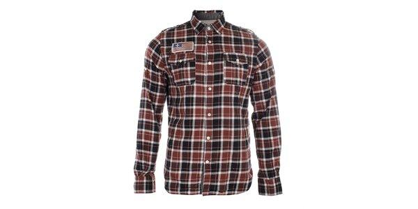 Pánska červeno kockovaná košeľa s nášivkou Zu Elements