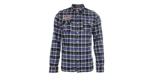 Pánska modro kockovaná košeľa s nášivkou Zu Elements