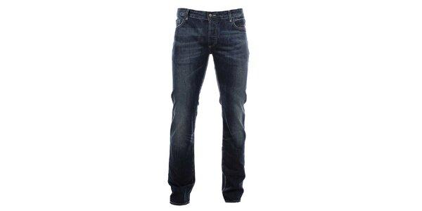 Pánske modré džínsy s červeným krížom na zadnom vrecku Zu Elements