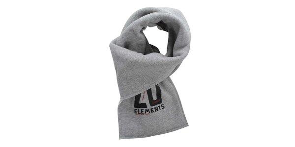 Šedý bavlnený šál s potlačou Zu Elements