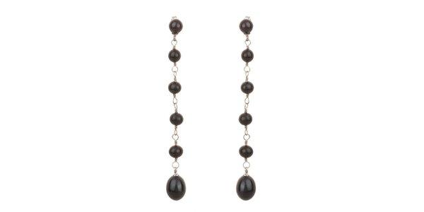 Dámske čierne perlové náušnice Orchira