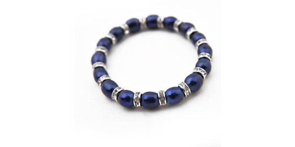 Dámsky tmavo modrý perlový náramok Orchira