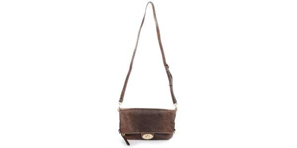 Dámska tmavo hnedá kabelka s odopínacím popruhom Caro Paris