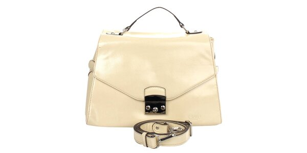Dámska béžová kabelka s klopou Caro Paris