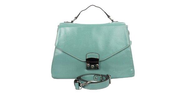 Dámska svetlo modrá kabelka s klopou Caro Paris