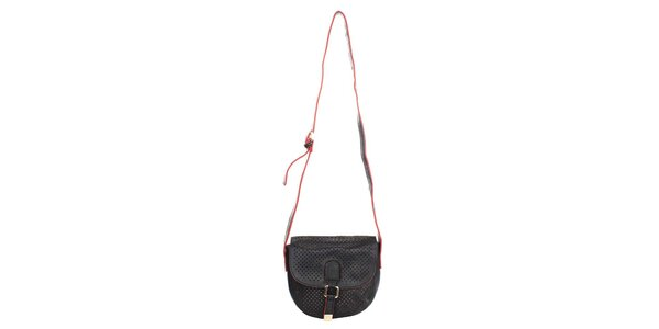 Dámska čierna kabelka s dekoratívnou perforáciou Caro Paris