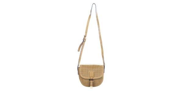Dámska svetlo hnedá kabelka s dekoratívnou perforáciou Caro Paris