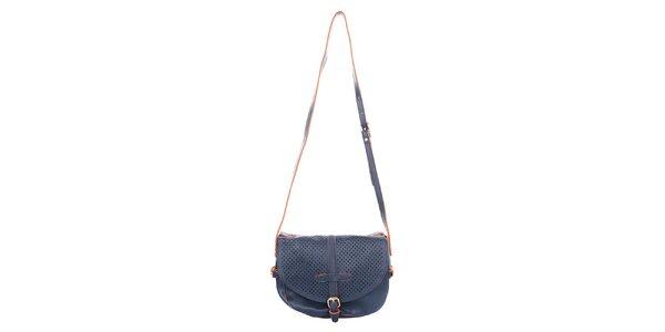 Dámska tmavo modrá kabelka s perforovanou klopou Caro Paris