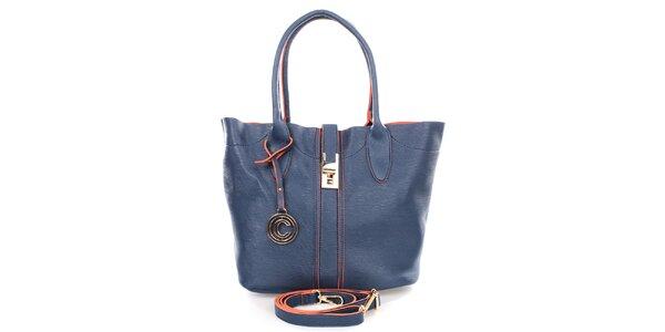 Dámska modrá kabelka s príveskom Caro Paris