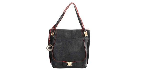 Dámska čierna kabelka s okrúhlym príveskom a červenými prvkami Caro Paris