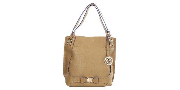Dámska béžová kabelka s príveskom Caro Paris