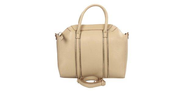 Dámska béžová kabelka s ozdobnými zipsami Caro Paris