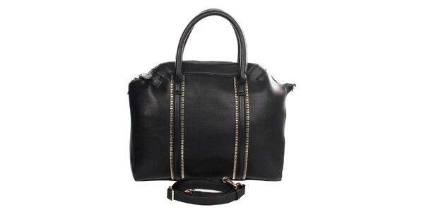 Dámska čierna kabelka s ozdobnými zipsami Caro Paris