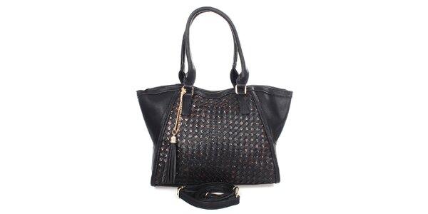 Dámska čierna kabelka so strapcami Caro Paris