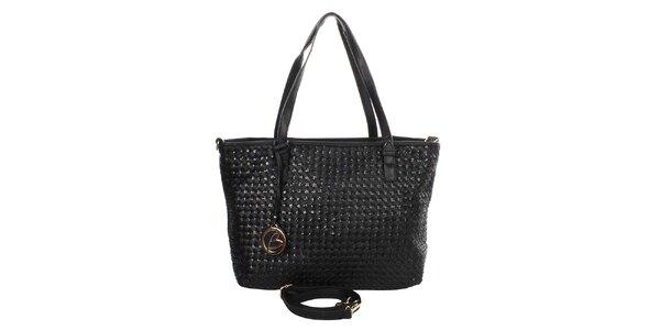 Dámska čierna kabelka s okrúhlym príveskom Caro Paris