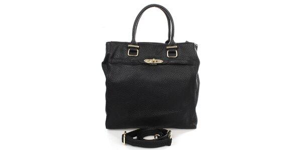 Dámska čierna kabelka s popruhom Caro Paris
