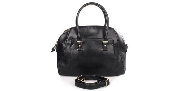 Dámska čierna kabelka s vonkajším vreckom Caro Paris