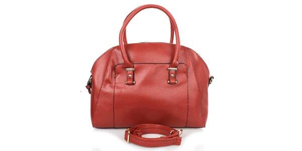 Dámska červená kabelka s vonkajším vreckom Caro Paris