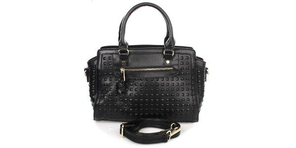 Dámska čierna kabelka s pruhovanou podšívkou Caro Paris