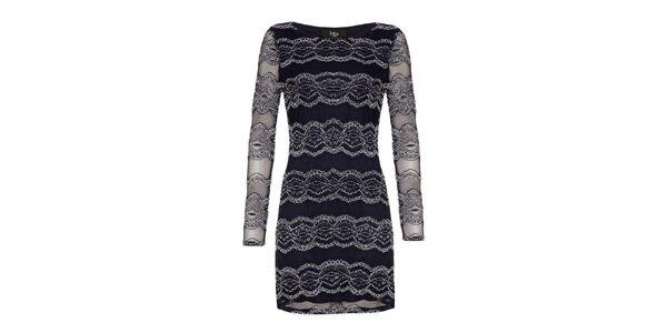 Dámske modré čipkové šaty Iska