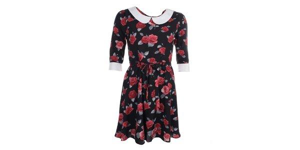 Dámske čierne šaty s kvetmi a golierom Iska