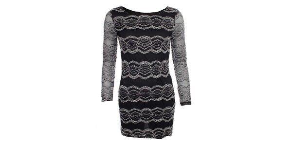 Dámske čierne šaty s čipkovanými vzormi Iska