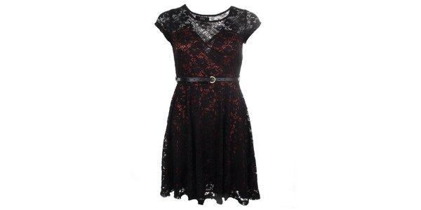 Dámske čierno-bordó čipkové šaty Iska