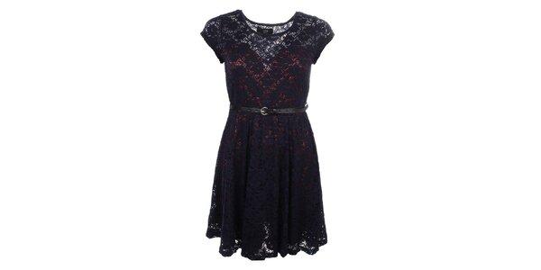 Dámske modro-bordó čipkové šaty Iska