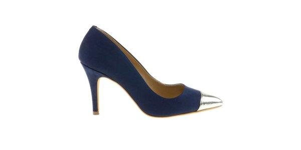 Dámske tmavo modré lodičky so striebornou kontrastnou špičkou Eva Lopez
