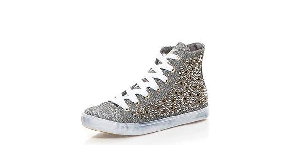 Dámske šedé členkové topánky s cvokmi Big Star
