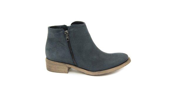 Dámske šedomodré členkové topánky z kože Giorgio Picino