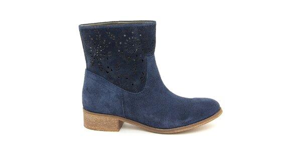 Dámske tmavo modré semišové členkové topánky Giorgio Picino