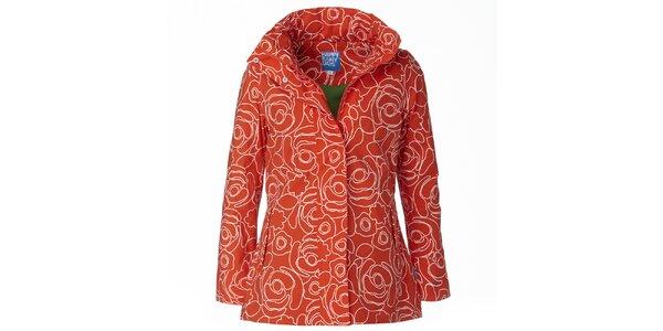 Dámska oranžovo-biela bunda do dažďa Happy Rainy Days