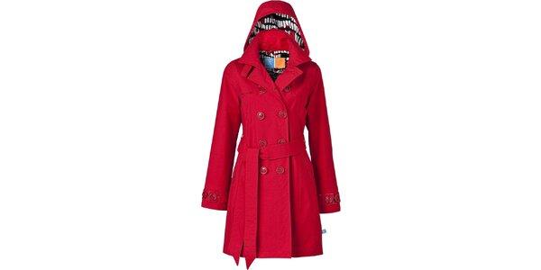 Dámsky červený dvojradový trenčkot Happy Rainy Days