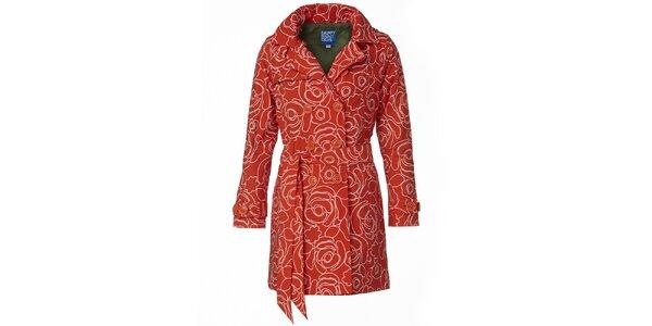 Dámsky oranžovo-biely dvojradový trenčkot Happy Rainy Days