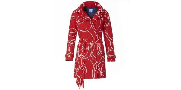 Dámsky červený vzorovaný trenčkot Happy Rainy Days