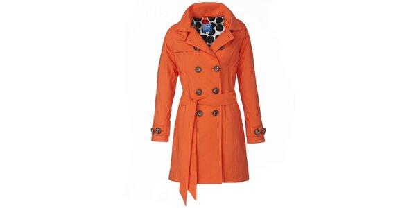 Dámsky oranžový dvojradový trenčkot Happy Rainy Days