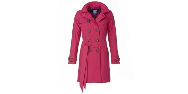 Dámsky ružový dvojradový trenčkot Happy Rainy Days