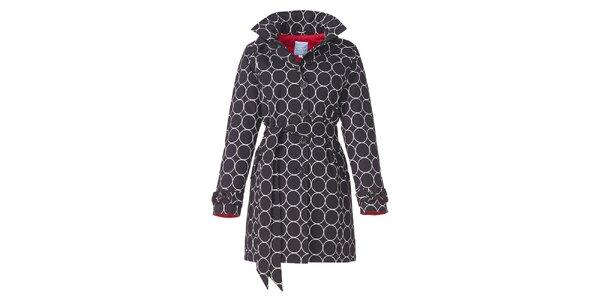 Dámsky čierny zimný trenčkot s bielym vzorom Happy Rainy Days