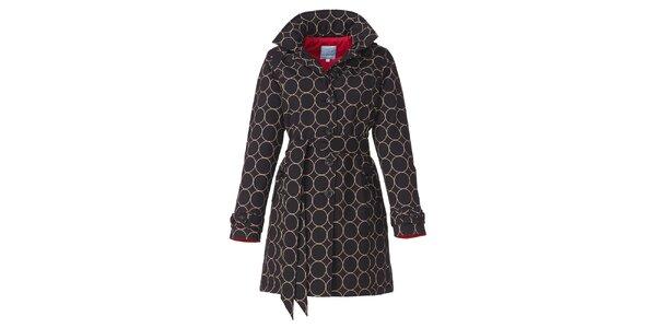 Dámsky čierny zimný trenčkot s béžovým vzorom Happy Rainy Days