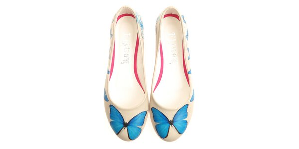 Dámske balerínky s modrým motýlom Elite Goby