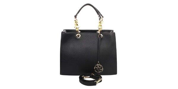 Dámska kabelka s ozdobnými pútkami v čiernej farbe London fashion