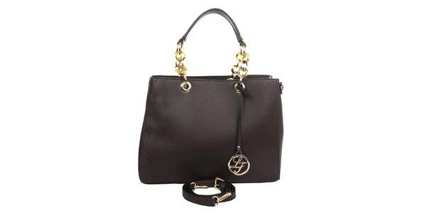 Dámska kabelka s ozdobnými pútkami v tmavej hnedej farbe London fashion