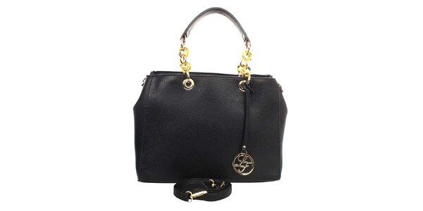 Dámska čierna kabelka s okrúhlym príveskom a zdobnými pútkami London fashion