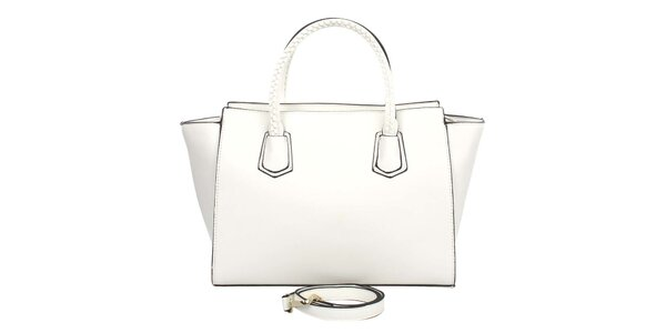 Dámska biela kabelka s ozdobnými pútkami London Fashion