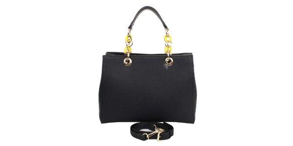 Dámska čierna kabelka s retiazkovými ušami London fashion