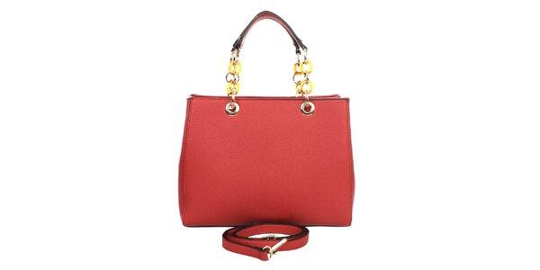 Dámska červená kabelka s retiazkovými ušami London fashion