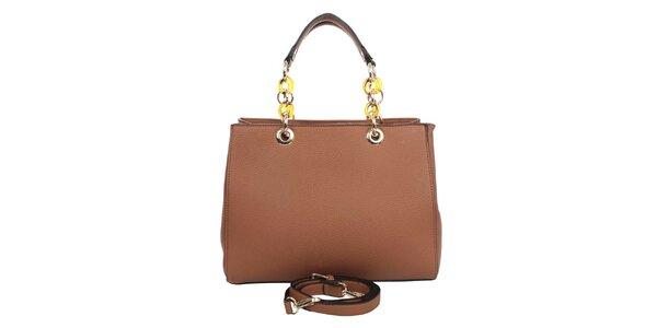 Dámska hnedá kabelka s retiazkovými ušami London fashion